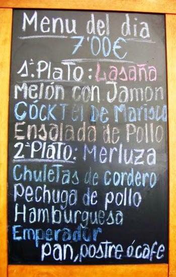 ahorrando en la alimentación - menu del día en Barcelona