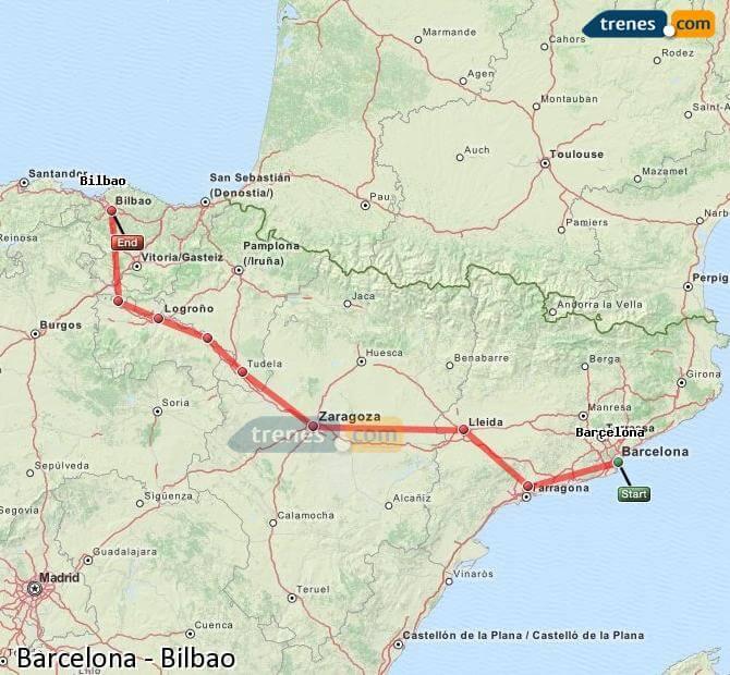 Mapa del trayecto en tren de Barcelona a Bilbao