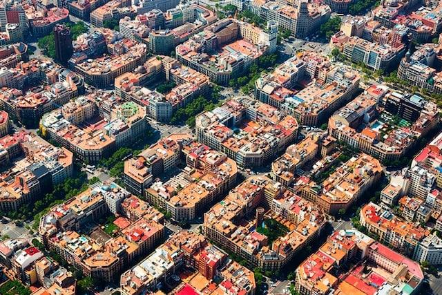 Bairro Eixample en Barcelona