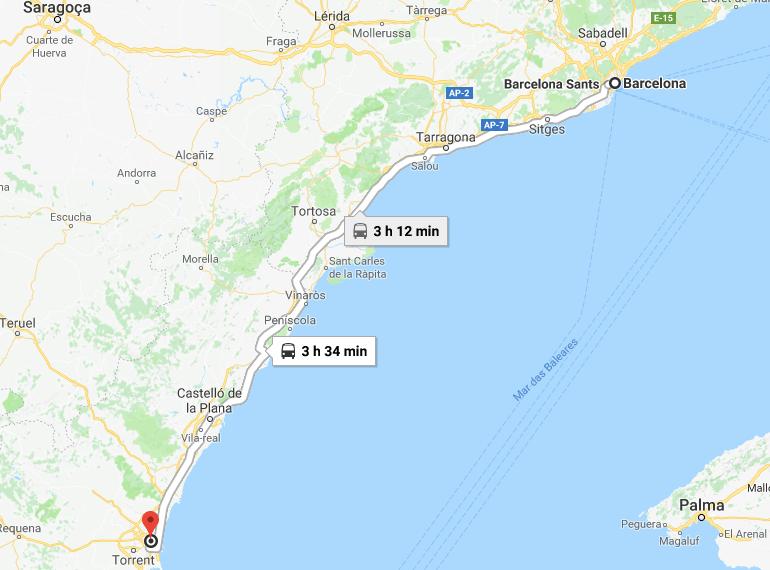 Mapa del tren de Barcelona a Valencia