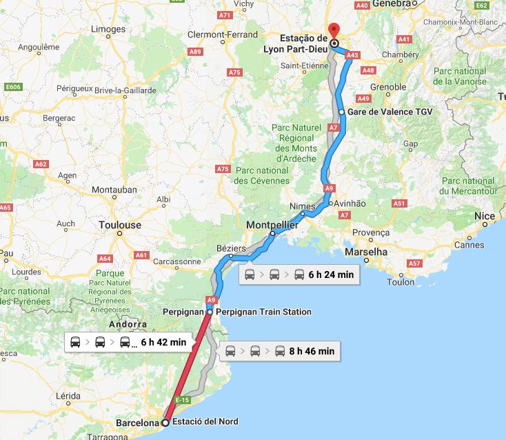 Mapa del viaje en tren de Barcelona a Lyon