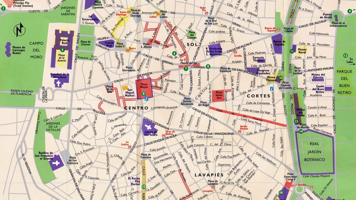 Mapa de las regiones mas turísticas en Madrid