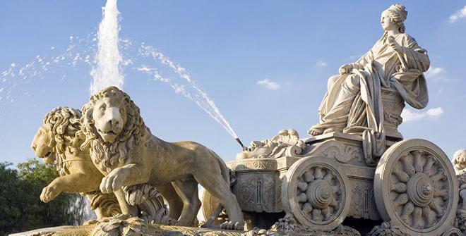 Fuente con la Diosa Cibeles y sus leones