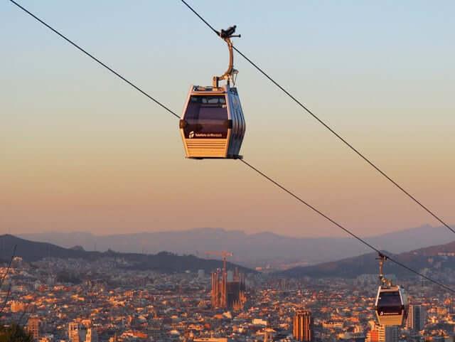 Vista del Teleférico de Montjuic