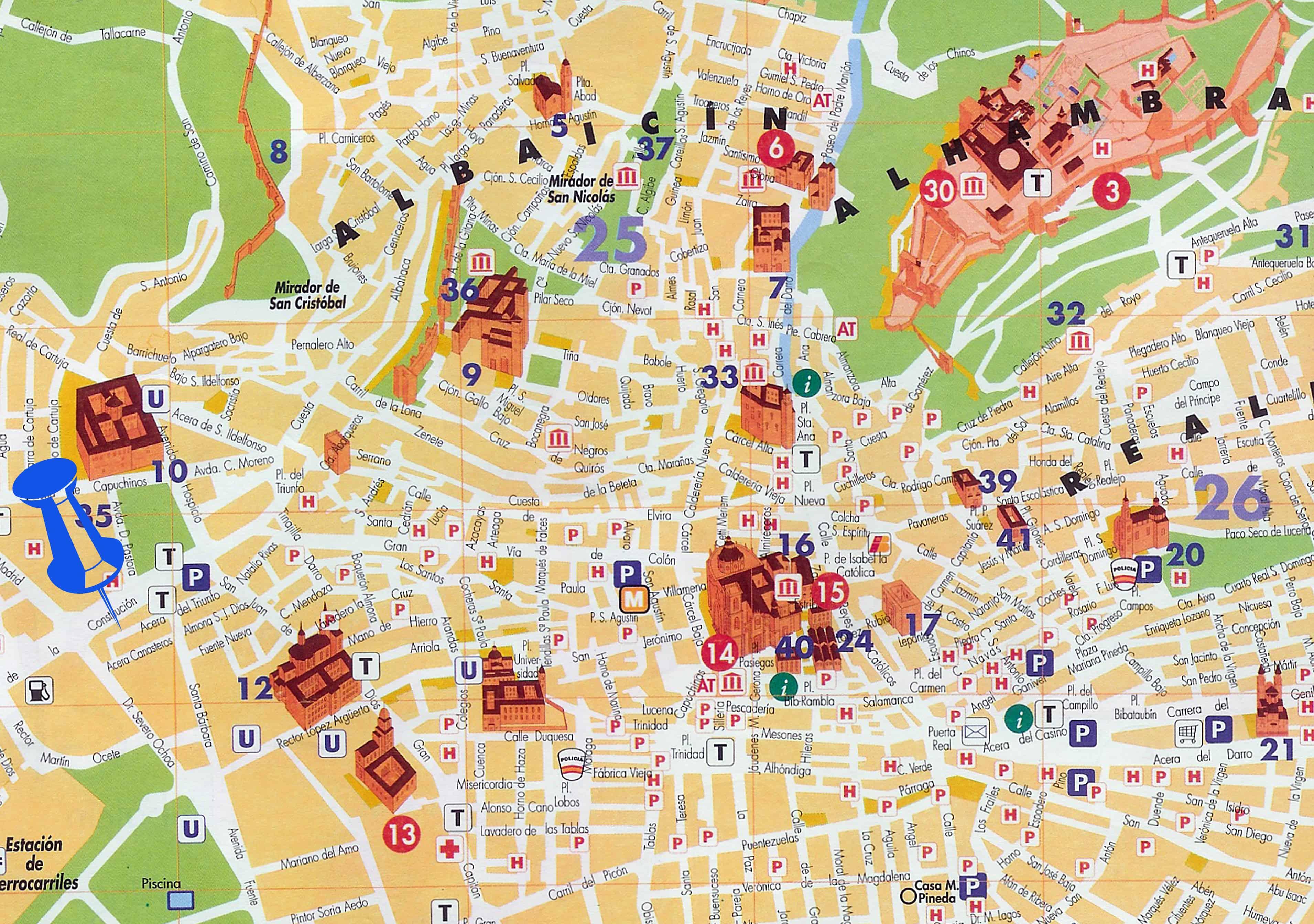 Mapa Granada - regiones
