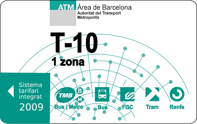 Boleto T-10 para transporte en Barcelona